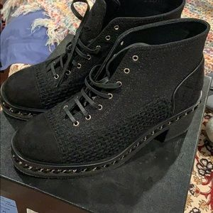 Chanel Lace Up Tweed Boots